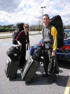 Ready to weigh our baggage!  Just about 100lbs each!