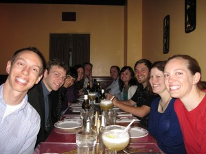 Peace Corps Trainees enjoying our last dinner in America!